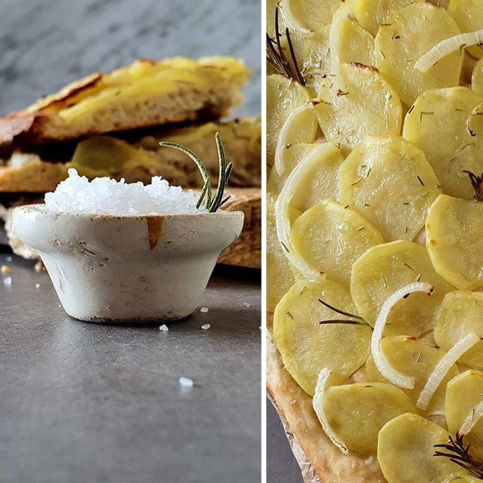 focaccia de patata y cebolla